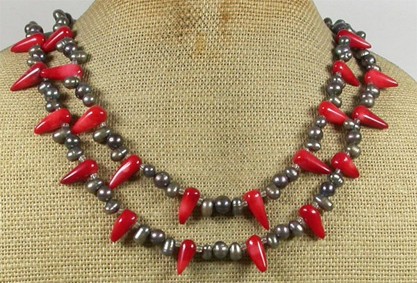 Handmade RED CORAL & FRESH WATER PEARLS 2ROW NECKLACE
