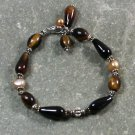 Handmade BLACK AGATE TIGER EYE FRESH WATER PEARLS BRACELET