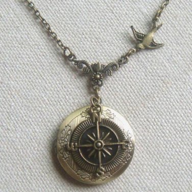Handmade ROUND LOCKET PENDANT & SWALLOW & COMPASS NECKLACE
