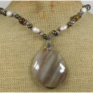 Handmade BROWN LACE AGATE CAT EYE FRESH WATER PEARLS NECKLACE
