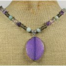 Handmade PURPLE FIRE AGATE FLUORITE AMAZONITE AMETHYST NECKLACE
