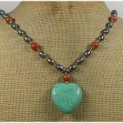 Handmade TURQUOISE HONEY JADE FRESH WATER PEARLS NECKLACE