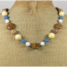 Handmade BROWN AGATE PICTURE JASPER TRIDACNA JADE NECKLACE