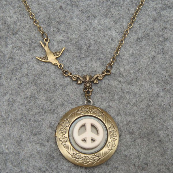 Handmade LOCKET & WHITE TURQUOISE PEACE & SWALLOW BIRD NECKLACE