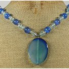 Handmade BLUE AGATE CAT EYE AQUA QUARTZ NECKLACE
