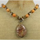 Handmade BROWN AGATE YELLOW CORAL TIGER EYE QUARTZ NECKLACE