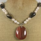 Handmade BLACK BROWN AGATE FRESH WATER PEARLS NECKLACE