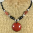 Handmade RED JASPER GOLDSTONE BLACK AGATE NECKLACE