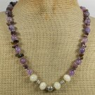 Handmade YELLOW JADE TOURMALINE PURPLE FIRE AGATE NECKLACE