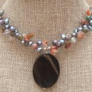 Handmade BLACK AGATE FANCY JASPER FLUORITE PEARLS NECKLACE