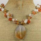 Handmade ORANGE AGATE CAT EYE WHITE JADE FW PEARLS NECKLACE