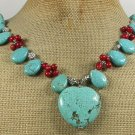 Handmade TURQUOISE & RED CORAL NECKLACE