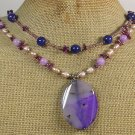 Handmade PURPLE AGATE JADE CORAL PEARLS 2ROW NECKLACE