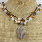 Handmade BRAZILIAN AGATE OPALITE CRYSTAL PEARL 2ROW NECKLACE