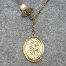 Handmade LOCKET & ORCHID & FRESH WATER PEARLS NECKLACE