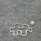 Handmade PUZZLE PIECE & FRESH WATER PEARL NECKLACE