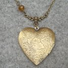 Handmade LARGE STEAMPUNK HEART LOCKET & CRYSTAL NECKLACE