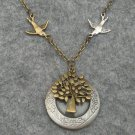 Handmade ROUND LOCKET PENDANT & BIRDS & TREE OF LIFE NECKLACE