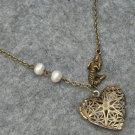 Handmade FILLIGREE HEART LOCKET PENDANT & MERMAID & FRESH WATER PEARLS NECKLACE