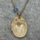 Handmade FLOWER OVAL LOCKET PENDANT & BLUE CRYSTAL & BIRD NECKLACE