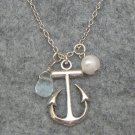 Handmade SILVER ANCHOR FRESH WATER PEARL AQUA QUARTZ NECKLACE