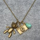 Handmade BEAR & CAMERA & TURQUOISE NECKLACE