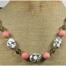 Handmade WHITE TURQUOISE PINK CORAL CRYSTAL LEATHER CORDNECKLACE
