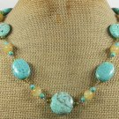 Handmade TURQUOISE & HONEY JADE NECKLACE