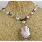 Handmade SAGE PLUME AGATE & FRESH WATER PEARLS NECKLACE