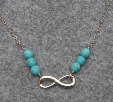 Handmade SILVER INFINITY CHARM & TURQUOISE NECKLACE