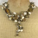 Handmade TIGER EYE JADE GOLDEN QUARTZ CRYSTAL PEARLS NECKLACE