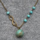 Handmade INFINITY CHARM & TURQUOISE NECKLACE