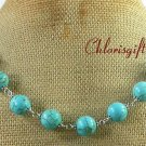 Handmade 12MM BLUE TURQUOISE NECKLACE