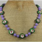 Handmade FLOWER CLOISONNE & PURPLE JADE NECKLACE