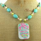 Handmade MING DYNASTY POTTERY SHARD TURQUOISE QUARTZ NECKLACE
