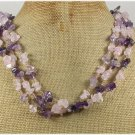 Handmade ROSE QUARTZ GARNET FLUORITE 3ROW NECKLACE