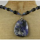 Handmade CHUNKY SODALITE BLACK AGATE FW PEARLS NECKLACE