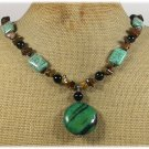 Handmade AFRICAN TURQUOISE BLACK AGATE TIGER EYE NECKLACE