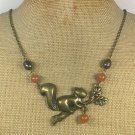Handmade SQUIRREL PENDANT HONEY JADE FRESH WATER PEARLS NECKLACE