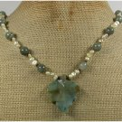 Handmade FANCY JASPER LEAF RUTILATED JASPER FRESH WATER PEARLS NECKLACE