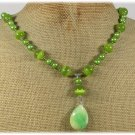 Handmade JADE OLIVE CAT EYE FRESH WATER PEARLS NECKLACE