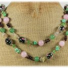 "Handmade LONG! 40"" PINK GREEN JADE FLOWER LAMPWORK TURQUOISE GARNET NECKLACE"