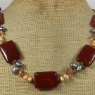 Handmade RED AGATE PINK CRYSTAL FW PEARLS NECKLACE