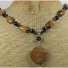 Handmade BROWN AGATE TIGER EYE BLACK AGATE NECKLACE