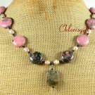 Handmade RHODONITE & FRESH WATER PEARLS NECKLACE