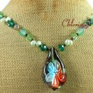 Handmade FLOWER LAMPWORK & AGATE & CRYSTAL & PEARLS NECKLACE