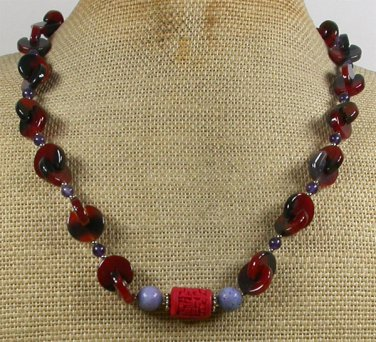 Handmade RED CINNABAR PURPLE CORAL AMETHYST AGATE NECKLACE
