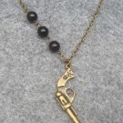 Handmade PISTOL & BLACK AGATE NECKLACE
