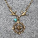 Handmade COMPASS PENDANT SWALLOW BIRDS TURQUOISE NECKLACE