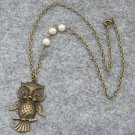 Handmade OWL PENDANT & FRESH WATER PEARLS NECKLACE
